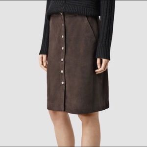 ALL SAINTS chocolate brown suede EMME skirt
